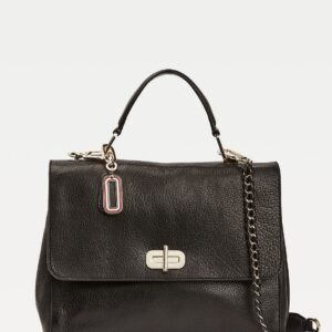 TH Soft Turnlock Leather Satchel